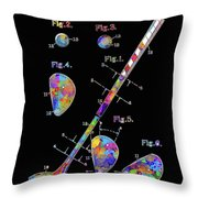 Golf Club Patent Drawing Watercolor 3 Throw Pillow