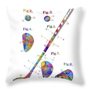 Golf Club Patent Drawing Watercolor Throw Pillow