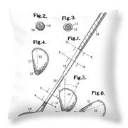 Golf Club Patent Drawing White Throw Pillow