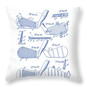 Golf Clubs Patent Drawing Throw Pillow