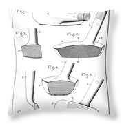 Golf Clubs Patent - Restored Patent Drawing For The 1903 A. F. Knight Golf Clubs Throw Pillow