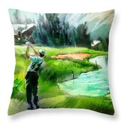 Golf In Crans Sur Sierre Switzerland 01 Throw Pillow