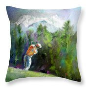 Golf In Crans Sur Sierre Switzerland 02 Throw Pillow