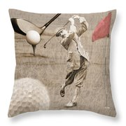 Golf Red Flag Vintage Photo Collage Throw Pillow