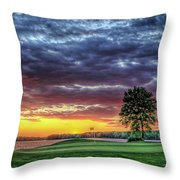 Golf Sunset Number 4 The Landing Reynolds Plantation Golf Art Throw Pillow