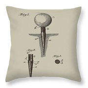 Golf Tee Patent 1899 Aged Gray Throw Pillow