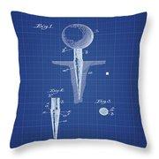 Golf Tee Patent 1899 Blueprint Throw Pillow