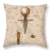 Golf Tee Patent Drawing Sepia Throw Pillow