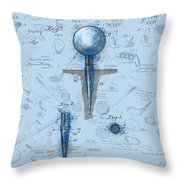 Golf Tee Patent Drawing Watercolor Throw Pillow