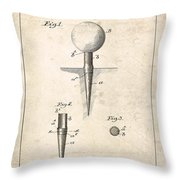 Golf Tee Patent - Patent Drawing For The 1899 G. F. Grant Golf Tee Throw Pillow