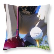 Golfer Sets Up His Shot Throw Pillow