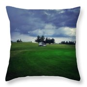 Golfing Before The Rain Golf Cart 01 Throw Pillow
