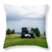 Golfing Before The Rain Golf Cart 02 Throw Pillow