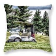 Golfing Before The Rain Golf Cart 03 Throw Pillow