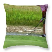 Golfing Chipping The Ball In Flight Throw Pillow