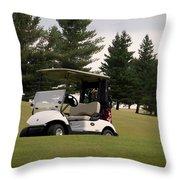 Golfing Golf Cart 01 Throw Pillow