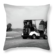 Golfing Golf Cart 06 Bw Throw Pillow