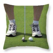 Golfing Lining Up The Putt Throw Pillow