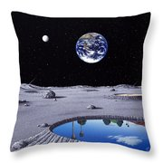 Golfing On The Moon Throw Pillow