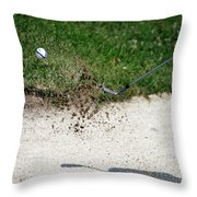 Golfing Sand Trap The Ball In Flight 01 Throw Pillow