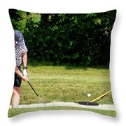 Golfing Sand Trap The Ball In Flight 02 Throw Pillow