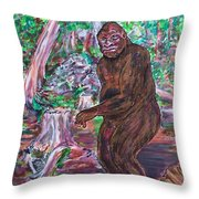 Goliath - The Bigfoot Of Ash Swamp Road Throw Pillow