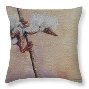 Gollum The Heron Chick Throw Pillow