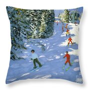 Gondola Austrian Alps Throw Pillow by Andrew macara