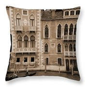 Gondola Crossing Grand Canal Throw Pillow