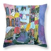 Gondola In A Venetian Canal Throw Pillow