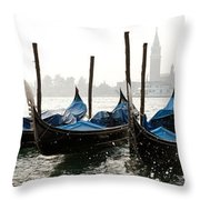 Gondole In Bacino 2078 Throw Pillow