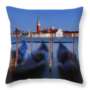 Gondolas And San Giorgio Maggiore At Night - Venice Throw Pillow by Barry O Carroll