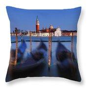 Gondolas And San Giorgio Maggiore At Night - Venice Throw Pillow