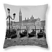 Gondolas Of San Marco Square Throw Pillow