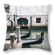 Gondolas On A Canal In Venice, Italy Throw Pillow