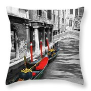 Gondolas On Venice. Black And White Pictures With Colour Detail  Throw Pillow