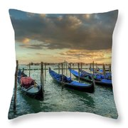 Gondolas Parked For The Evening Throw Pillow