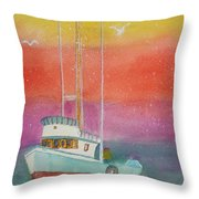 Gone Fishing At Midnight  Throw Pillow