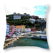 Gone Fishing In Sorrento Throw Pillow