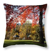 Gonzaga With Autumn Tree Canopy Throw Pillow by Carol Groenen