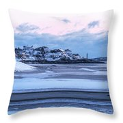 Good Harbor Beach And Thacher Island Covered In Snow Gloucester Ma Throw Pillow