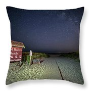 Good Harbor Beach Sign Under The Stars And Milky Way Throw Pillow