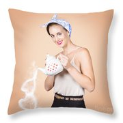 Good Looking Female Pouring Hot Coffee Love Throw Pillow