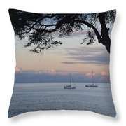 Good Morning Boats Throw Pillow