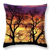 Good Morning Cows Colorful Sunrise Throw Pillow