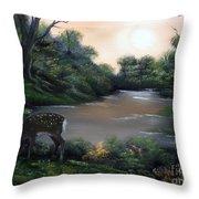 Good Morning My Deer. Throw Pillow by Cynthia Adams