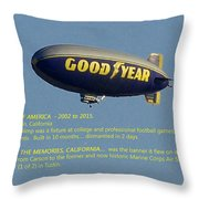 Good Year Blimp The Spirit Of America 2002 2015  Throw Pillow