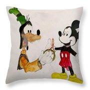 Goofy And Mickey Throw Pillow