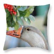 Goose Eating Berries Throw Pillow