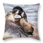 Goose Epic Battle Throw Pillow
